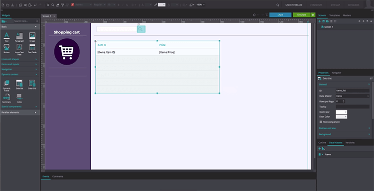 prototyping shopping cart design with justinmind