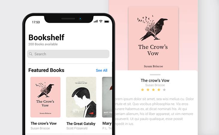 Bookshelf app prototype example