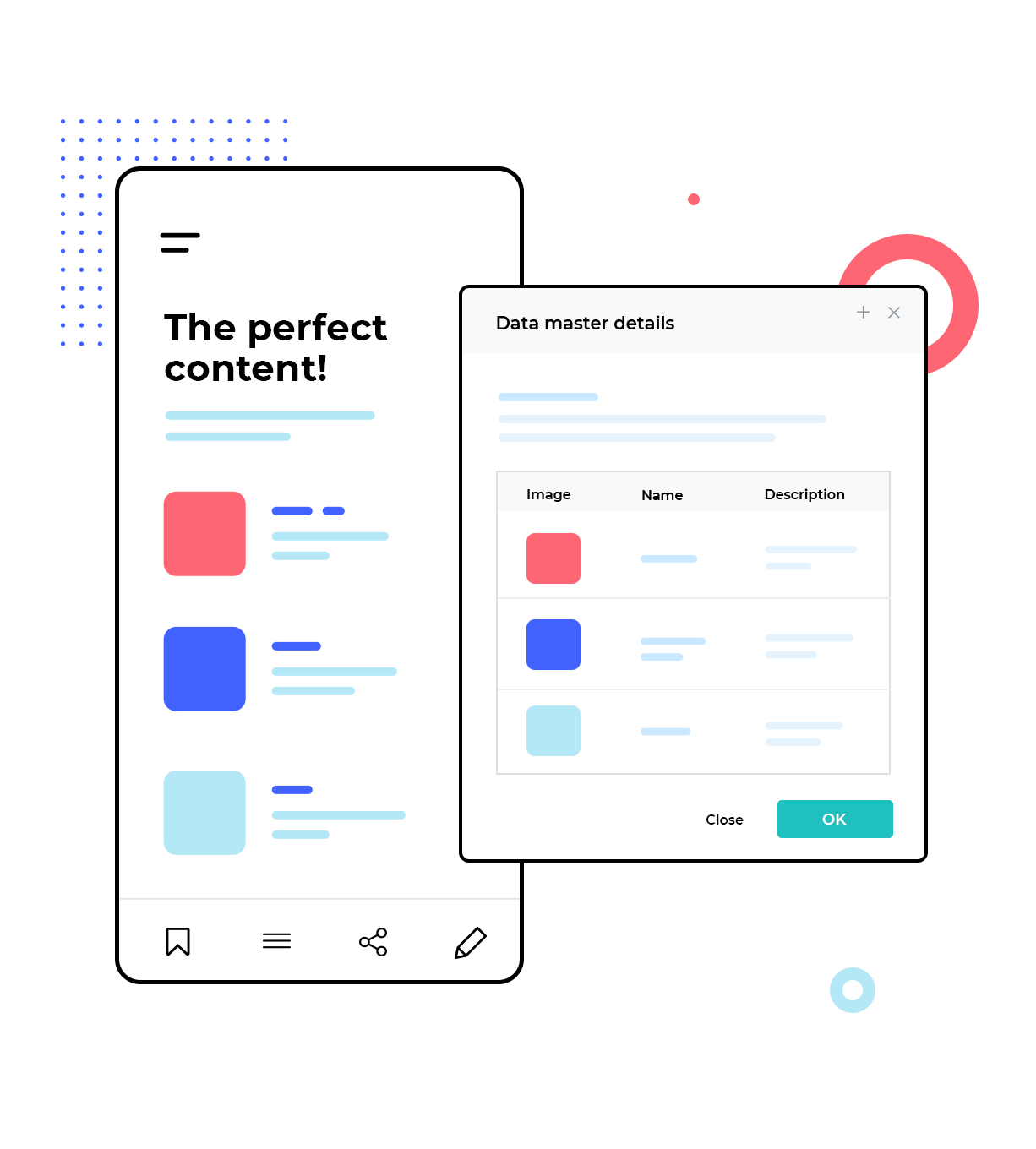 data list visualization in mockups
