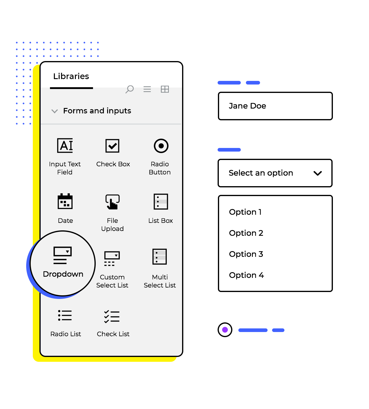 Website mockup tool for to design interactive forms