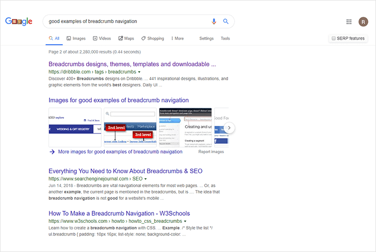 google search result breadcrumb example