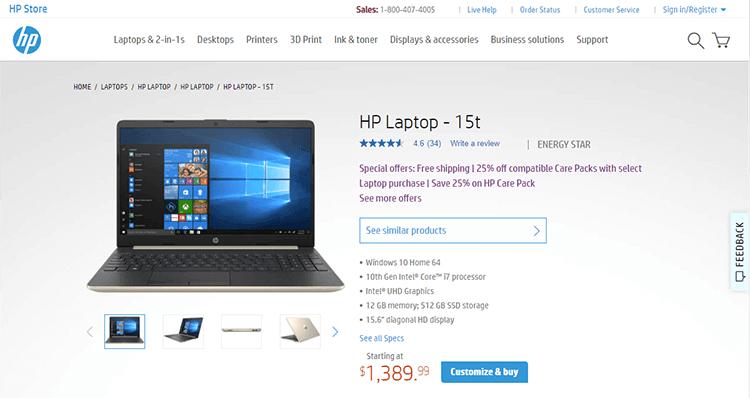 HP breadcrumb example