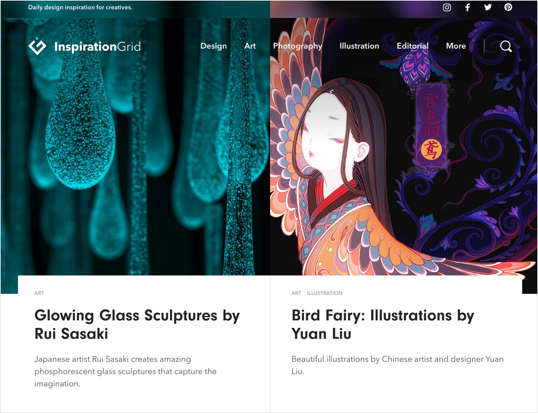 inspiration grid as web design inspirational blog