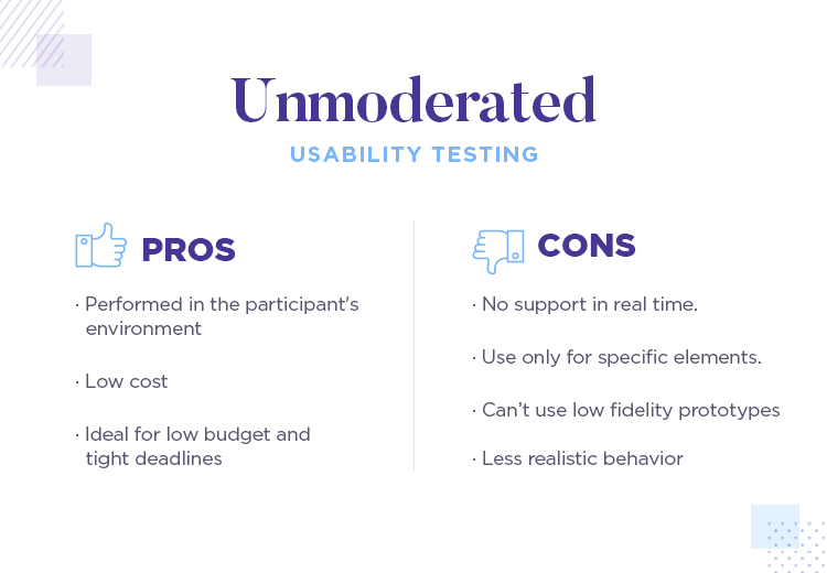 pros and cons of unmoderated usability testing