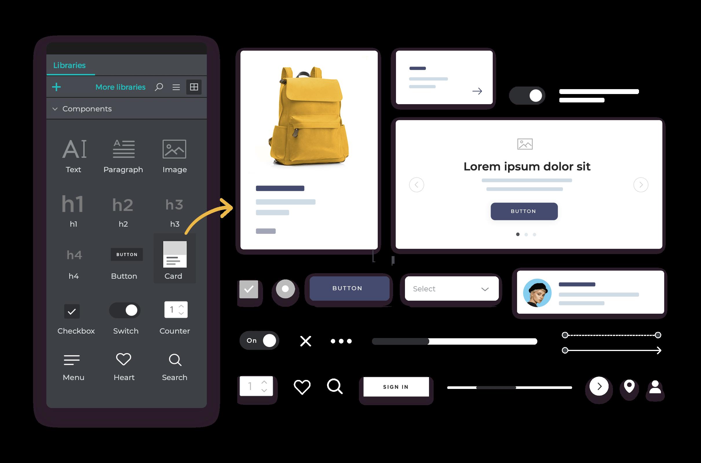 Web wireframing with UI kits