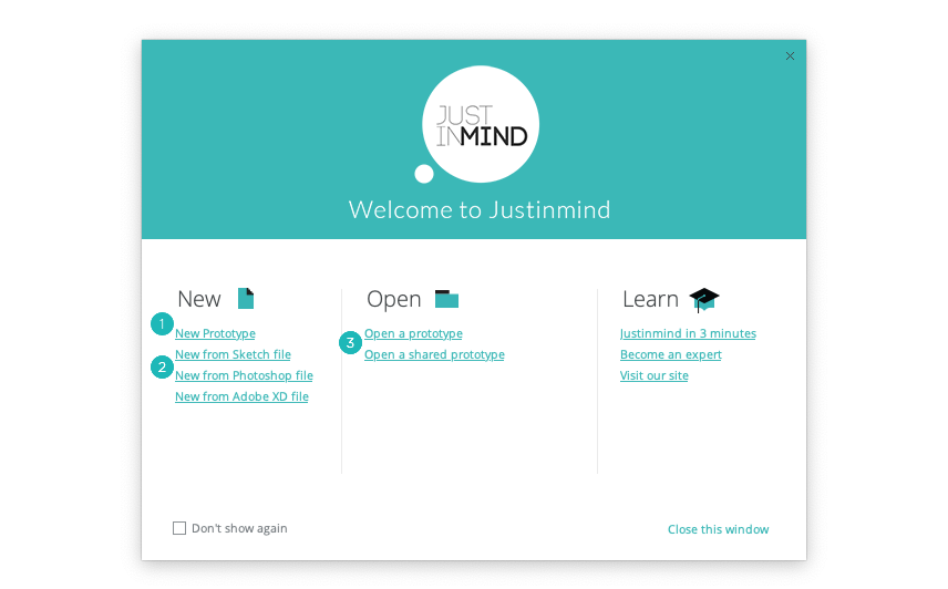 Justinmind's welcome window
