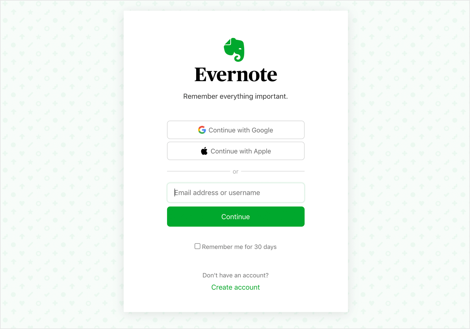 evernote login form page