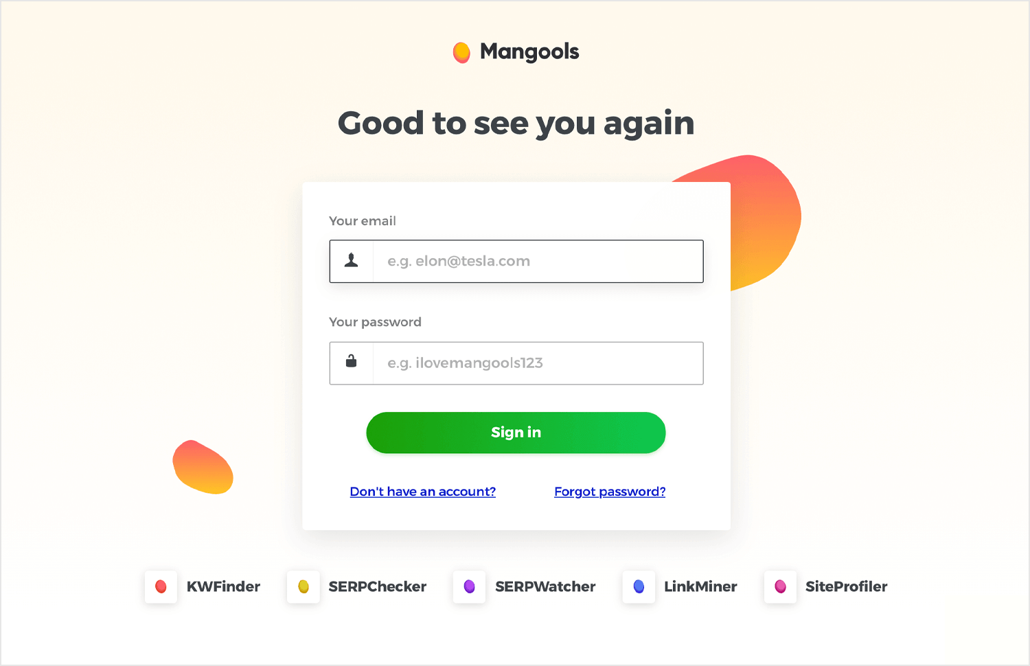 mangools login form