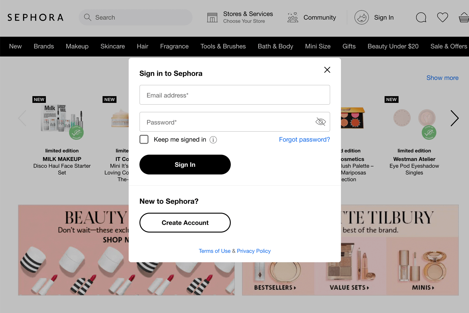 sephora login form