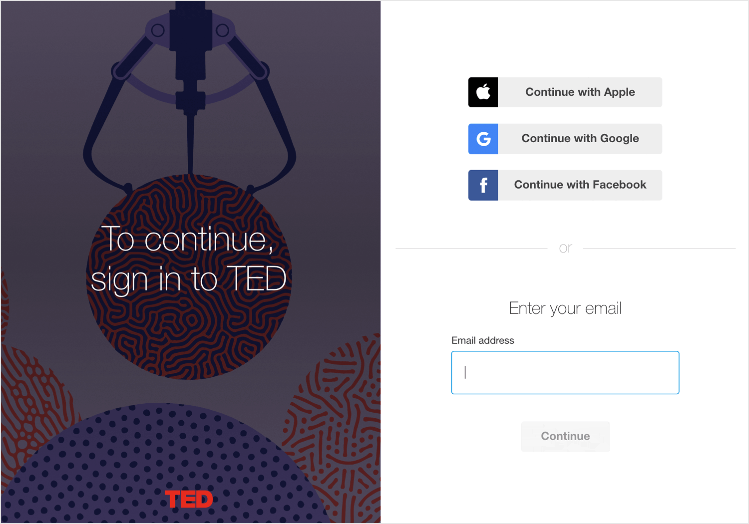 TED login form