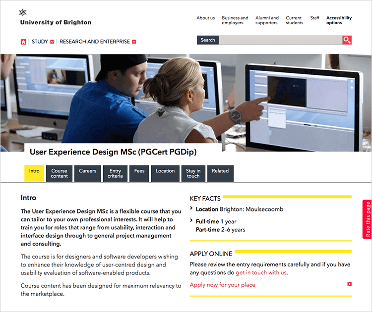 brighton university ux masters degree
