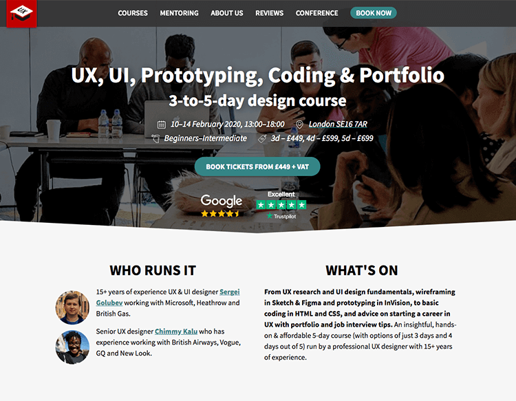 ONline course UI/UX design at School of UX.