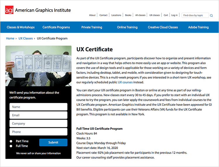 In-classroom UX design course at American institute of graphics