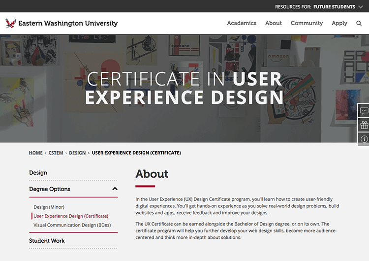 eastern washington university ux course
