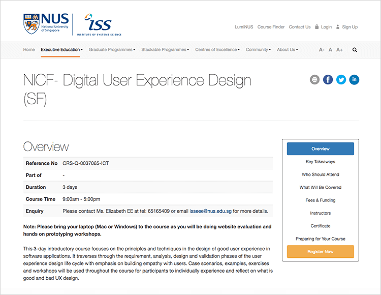 national university of singapore - UX design course