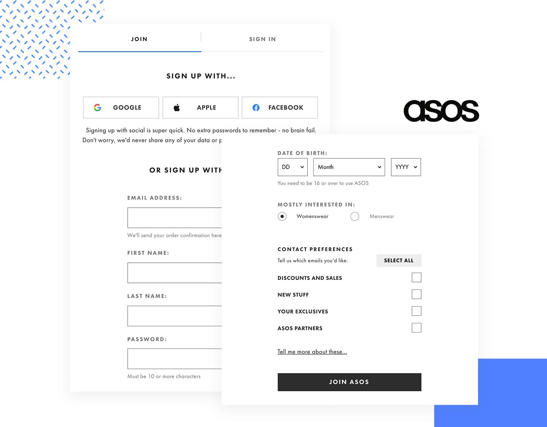 signup form design at asos