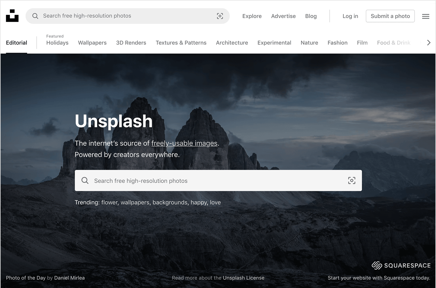 unsplash- free resource for website backgrounds