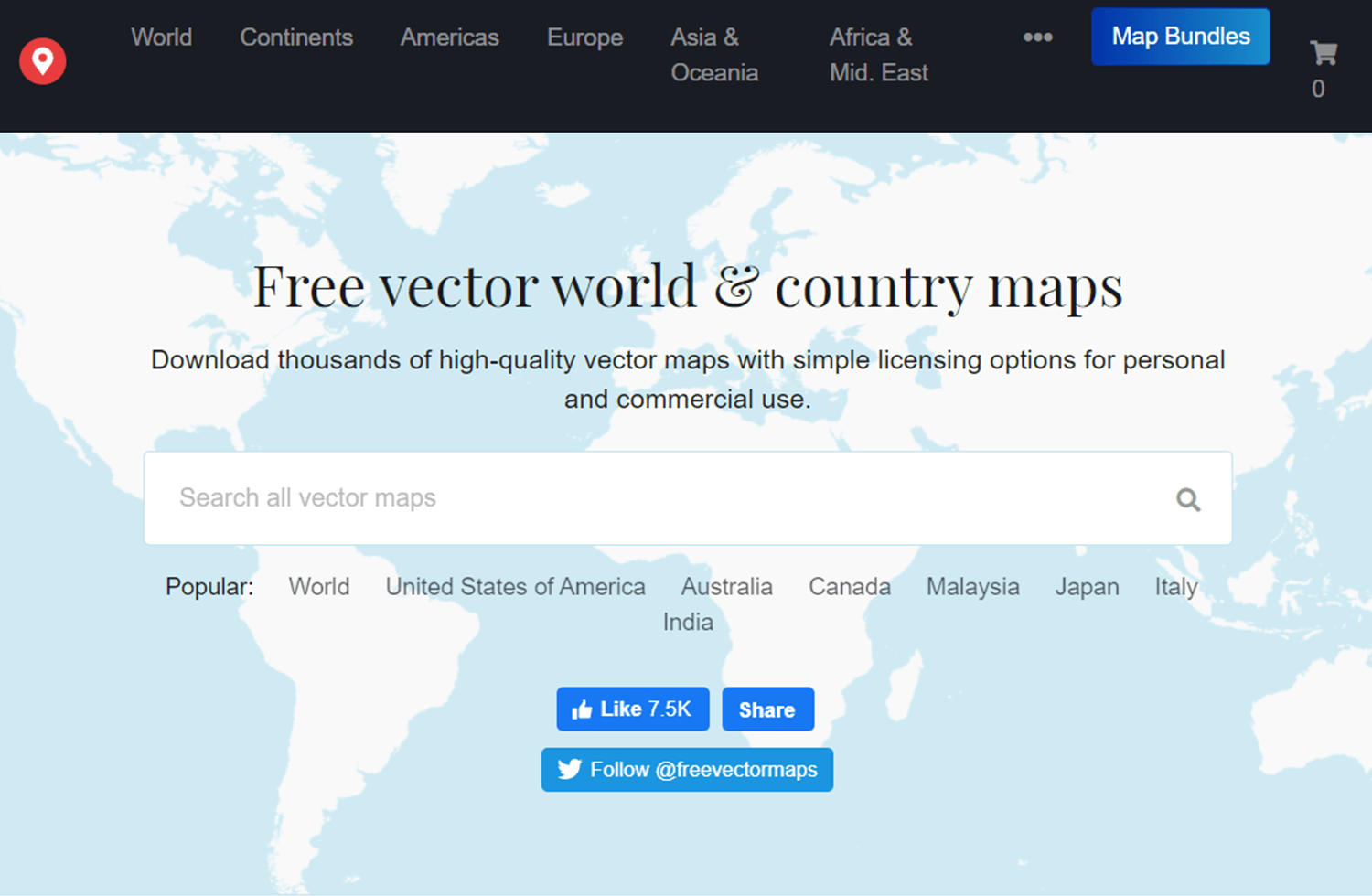 website as resource for free vector maps