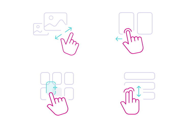 Different gestures solicit different app interactions