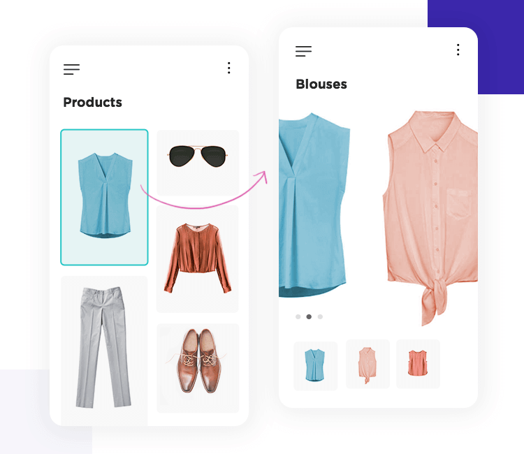 Ecommerce home screen and product screen UI design in Justinmind