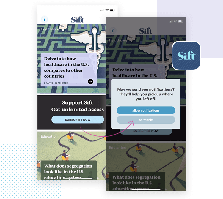 App interaction - Sift