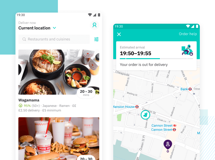 deliveroo as example of mobile interaction