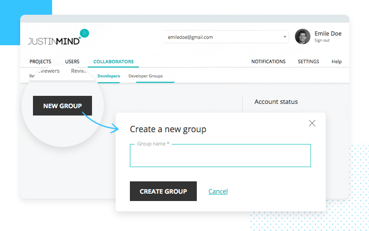 Design-development handoff - create groups of developers