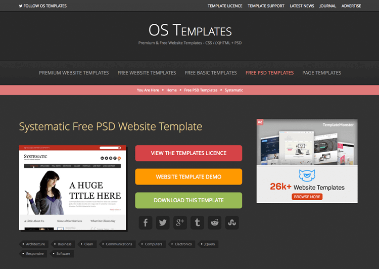 Free PSD website mockups - Os Templates
