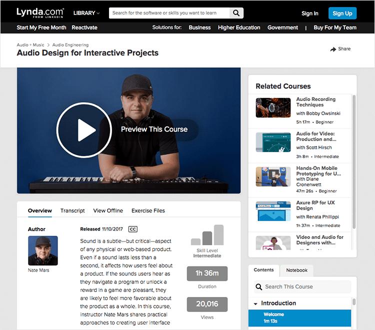 Interaction design courses - Audio Design on Lynda
