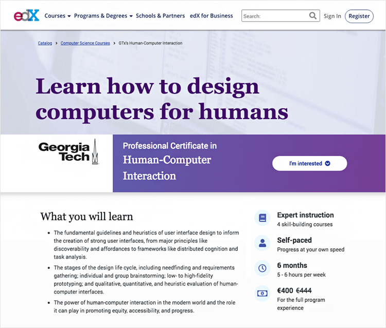Interaction design courses - Human Computer Interaction on edX
