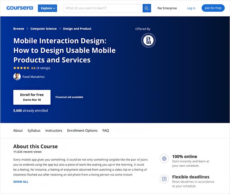 Interaction design courses - Mobile Interaction Design on Coursera