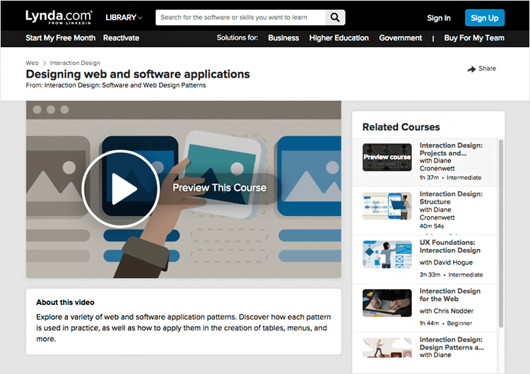 Interaction design courses - Structure on Lynda