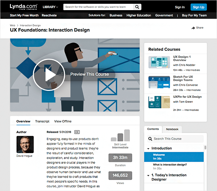 Interaction design courses - UX Foundations on Lynda