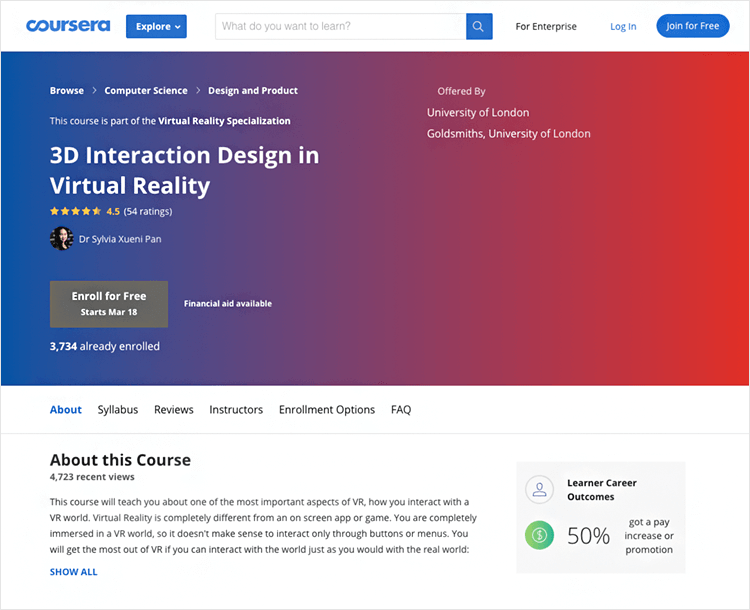 Interaction design courses - 3D Interaction Design in Virtual Reality on Coursera