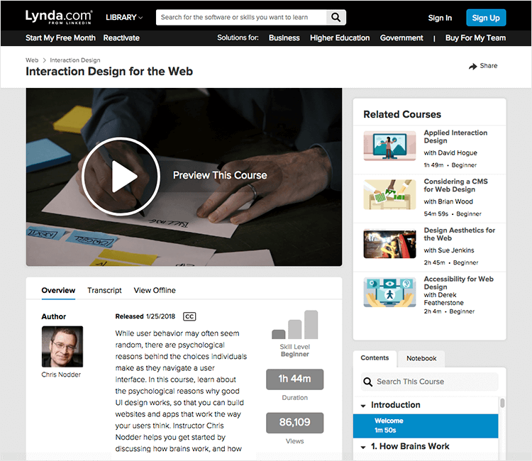 Interaction design courses - Interaction Design for the Web on Lynda