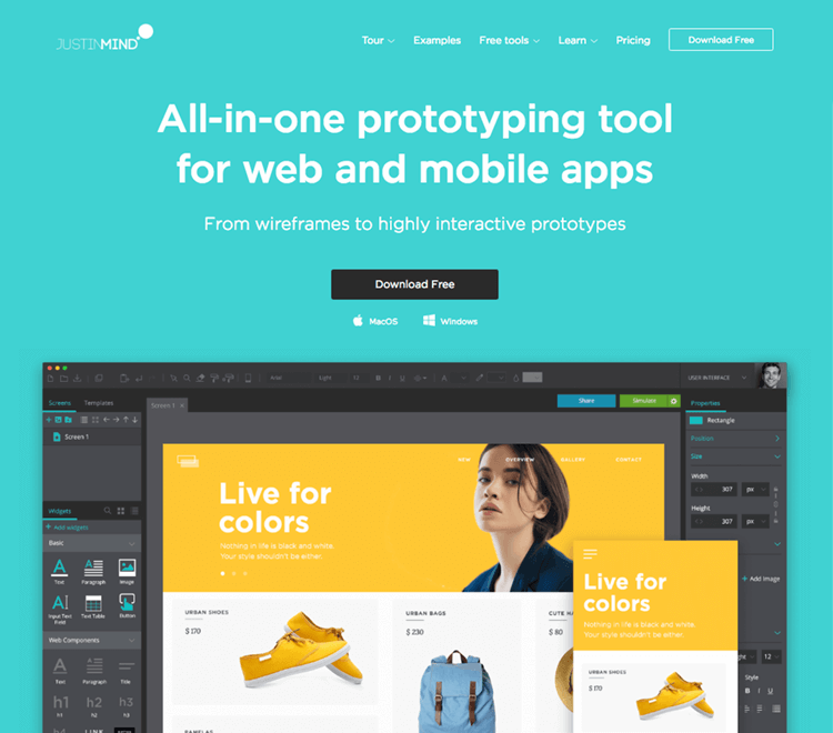 justinmind - interactive prototyping tool