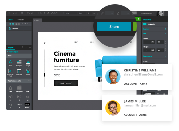 Share prototypes remotely - collaborate online