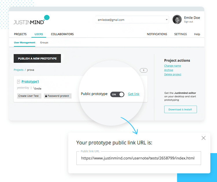 Share prototypes remotely - get a public link