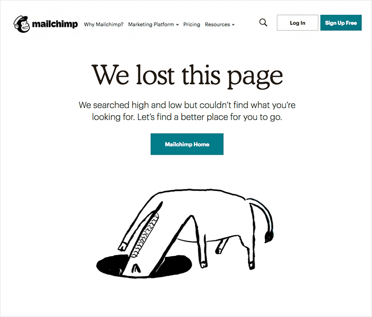 mailchimp as example of 404 page design