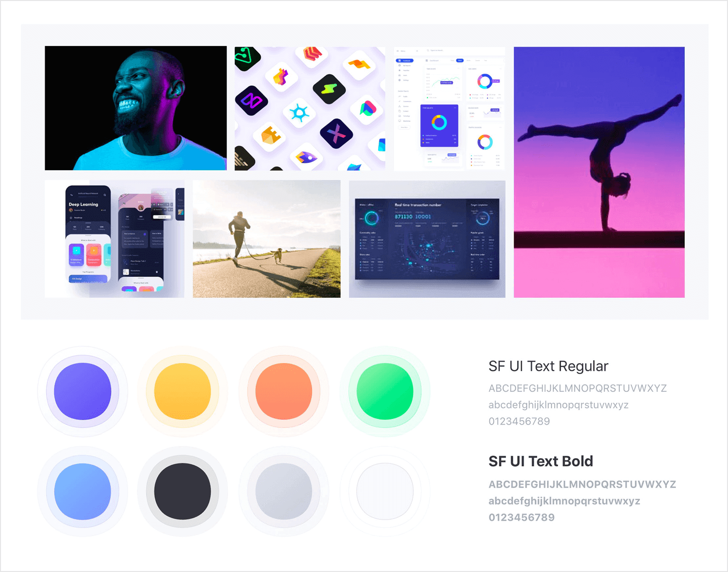App mood board example - fitness coaching