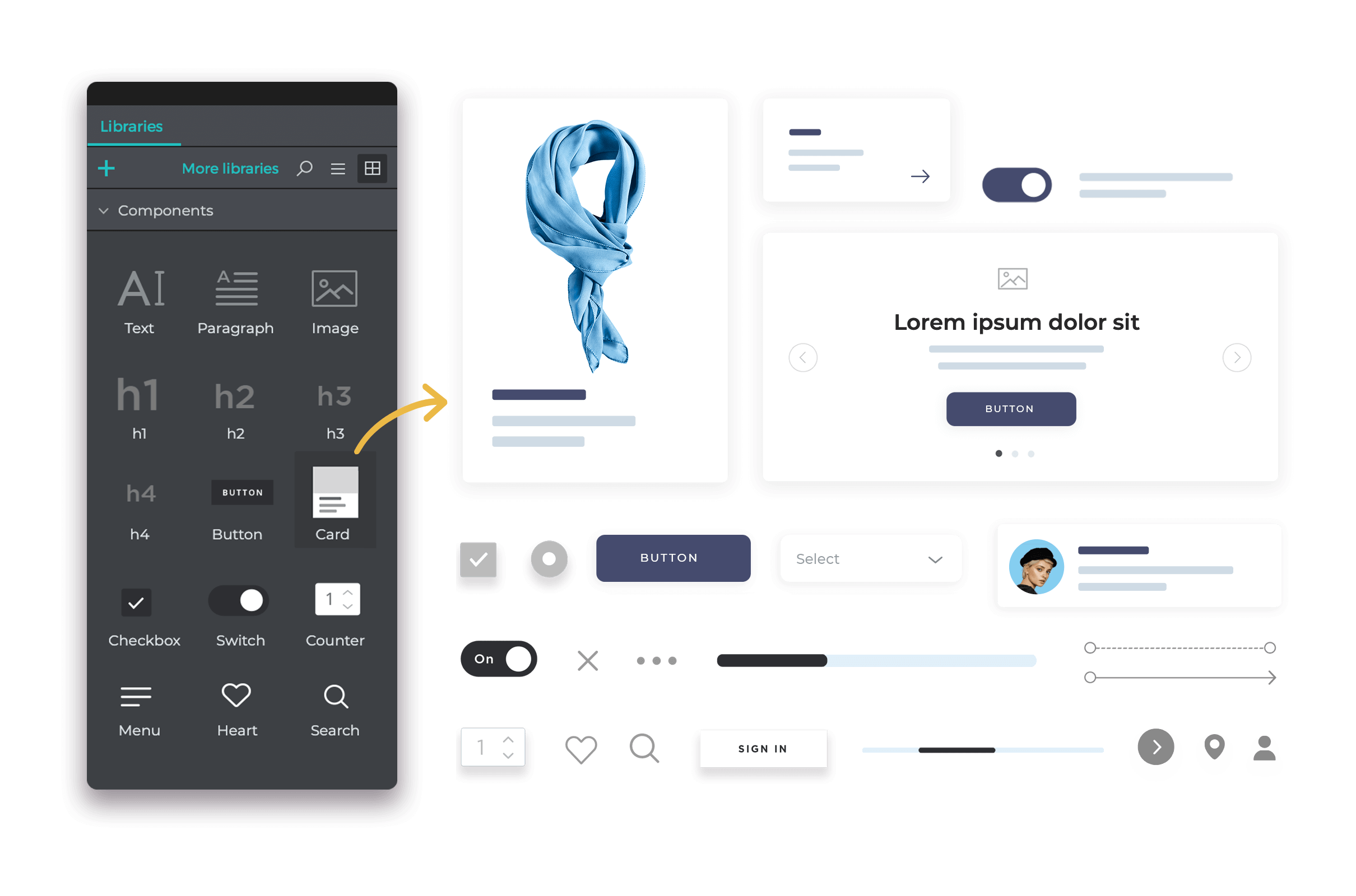 Create your own ui kits inside a design system