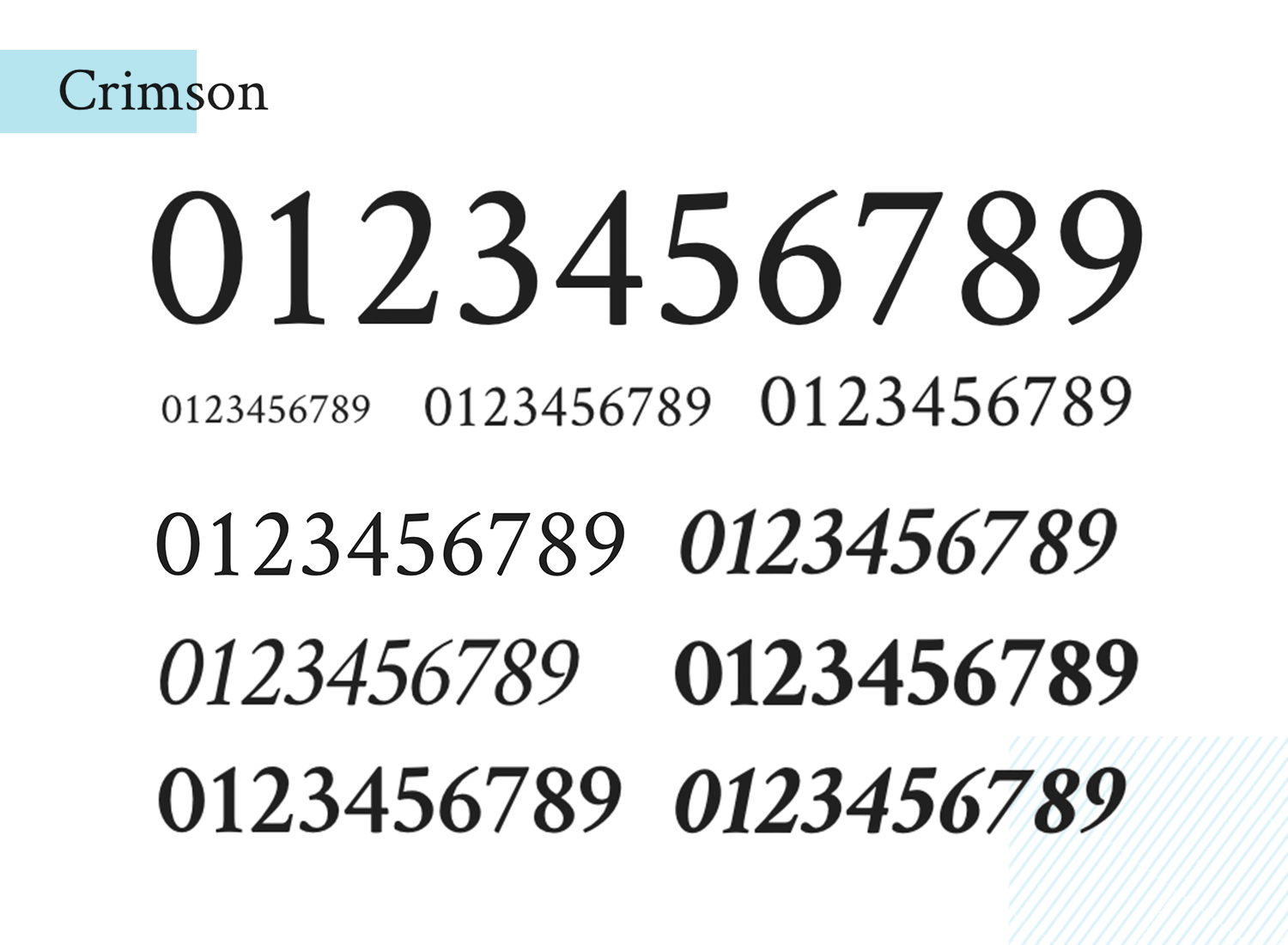 free number typeface - crimson text