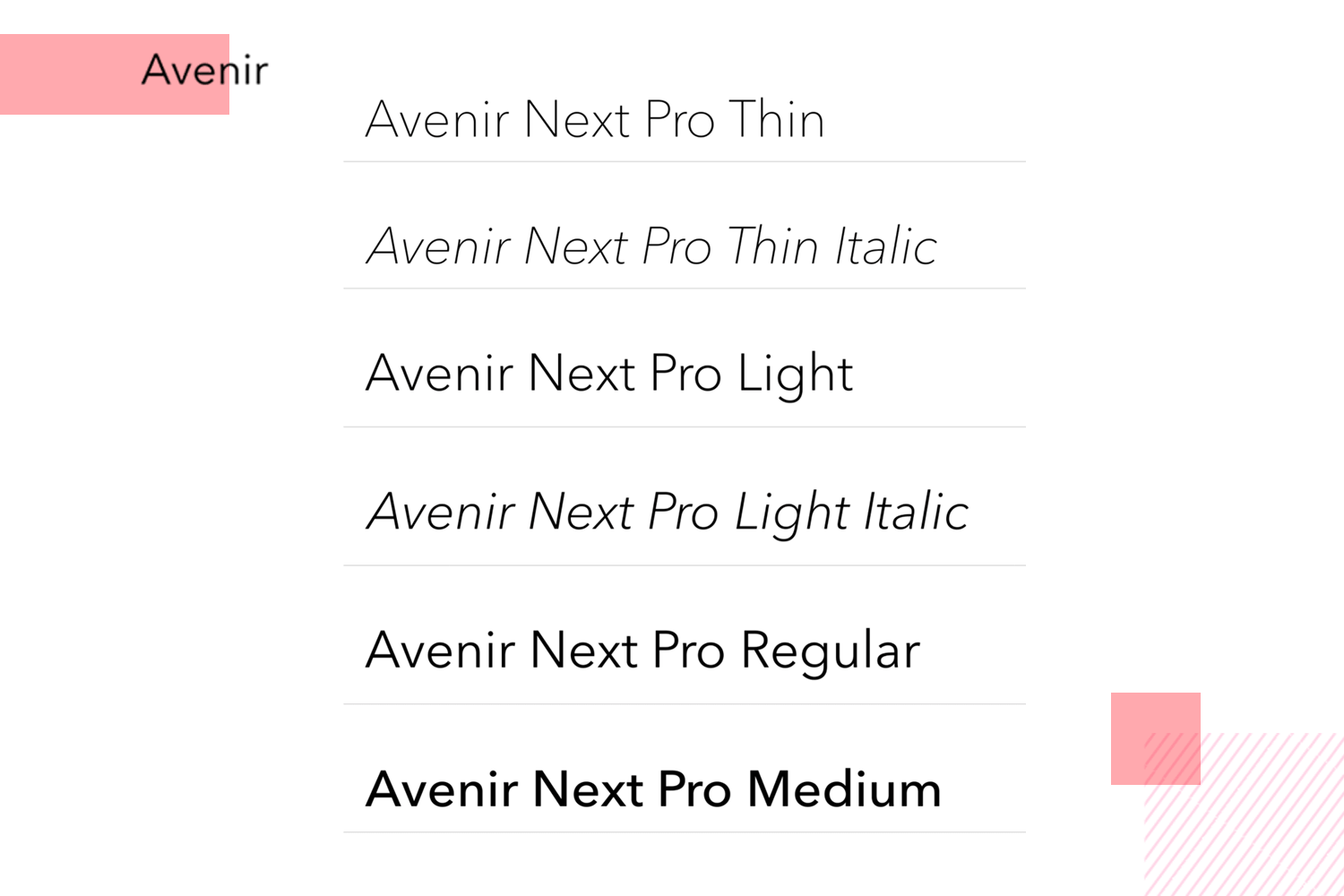 Fonts for mobile apps - Avenir Next