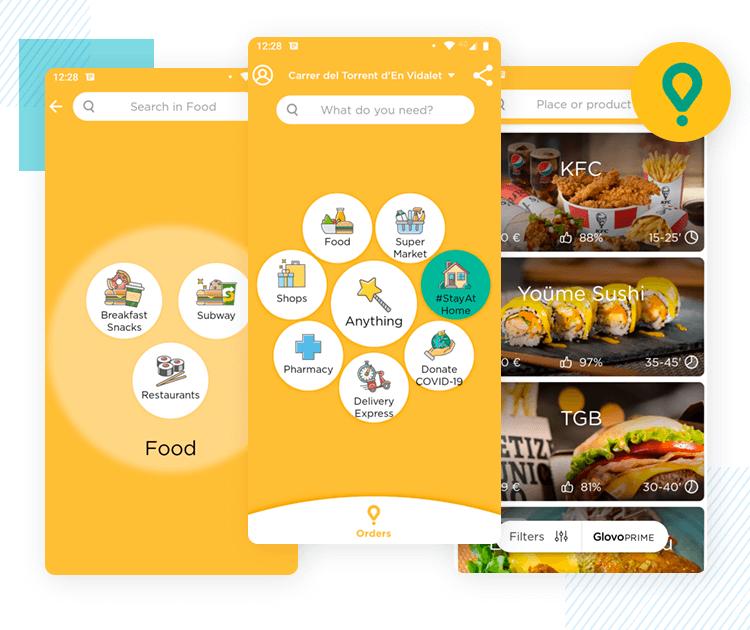 glovo's main menu as best app ui design