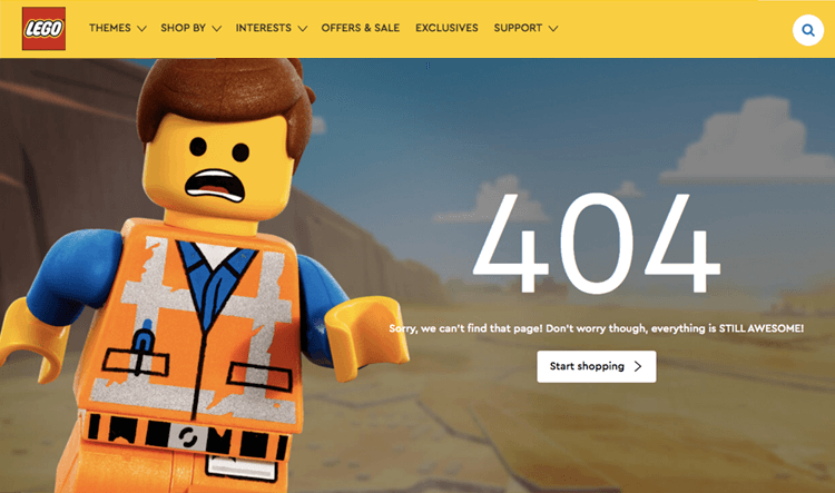 lego as 404 page design example