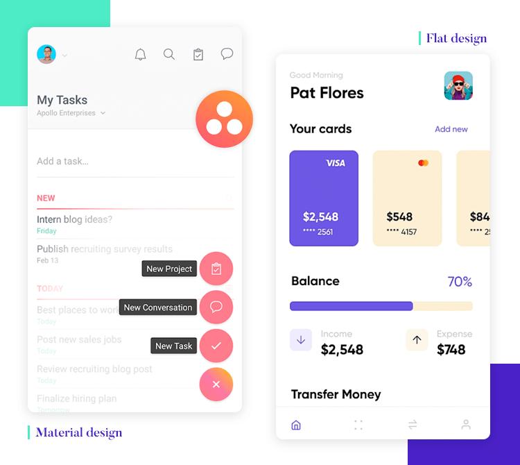 Flat design vs. Material Design - both minimalist UIs