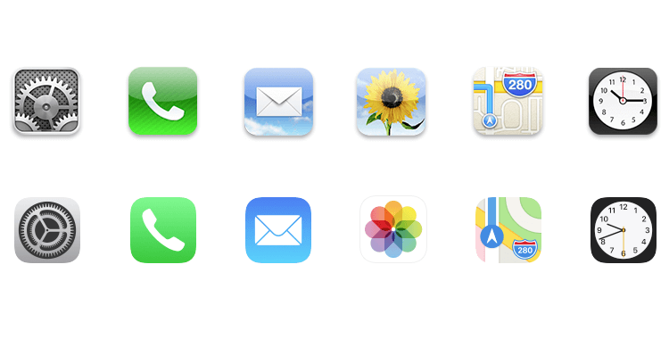 Flat design vs. Material Design - Apple icons less detailed than before