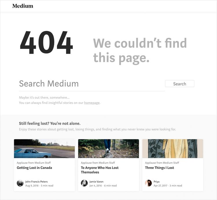 example of medium's error 404 page