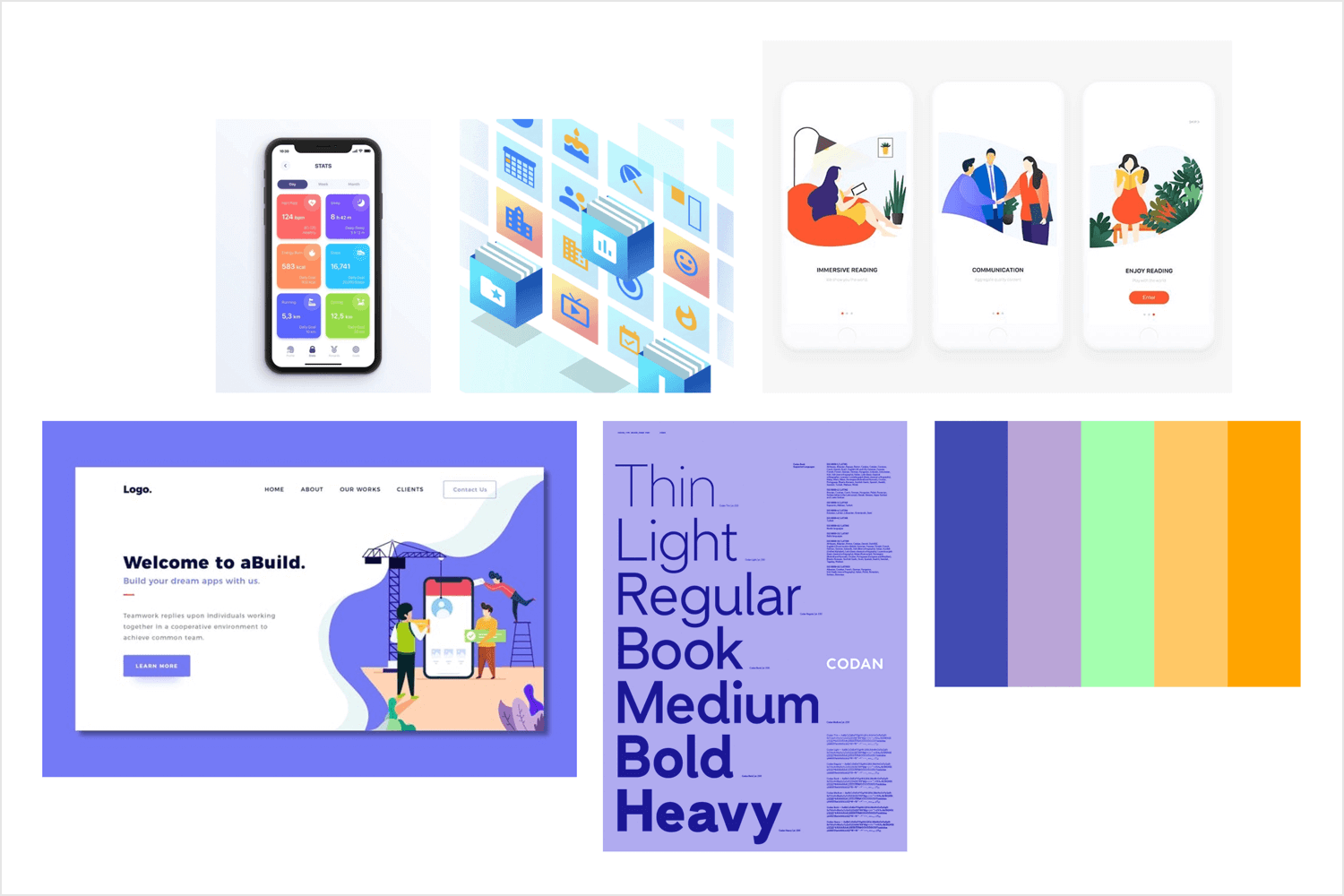 App mood board example - style, font and other touchpoint