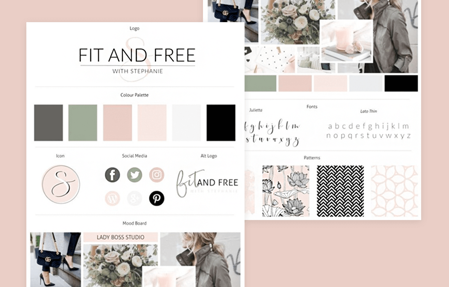 Website mood board examples - Fit and Free Portfolio